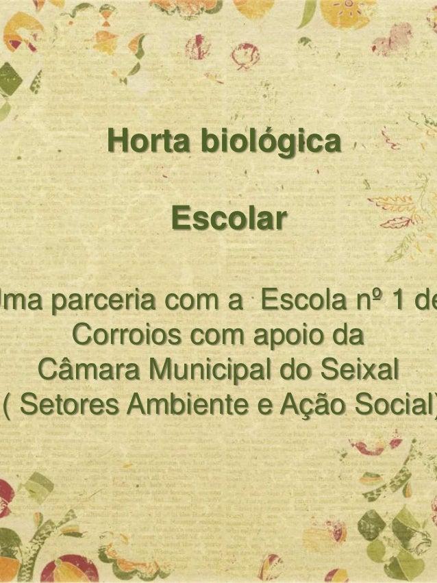 Horta biológica Escolar Uma parceria com a Escola nº 1 de Corroios com apoio da Câmara Municipal do Seixal ( Setores Ambie...