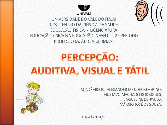 UNIVERSIDADE DO VALE DO ITAJAÍ CCS- CENTRO DA CIÊNCIA DA SAÚDE EDUCAÇÃO FÍSICA - LICENCIATURA EDUCAÇÃO FÍSICA NA EDUCAÇÃO ...