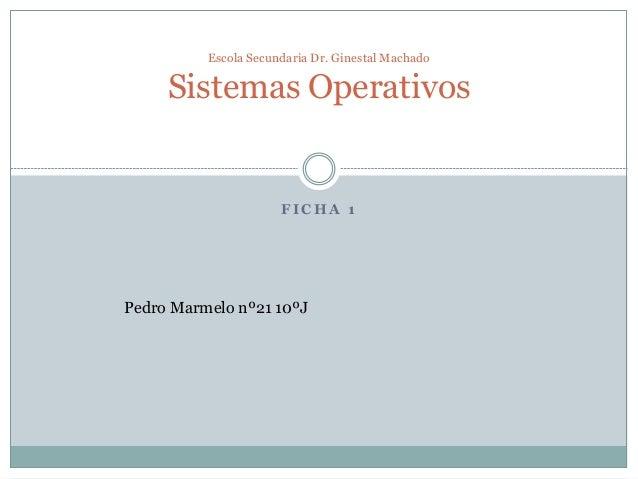 Escola Secundaria Dr. Ginestal Machado  Sistemas Operativos  FICHA 1  Pedro Marmelo nº21 10ºJ