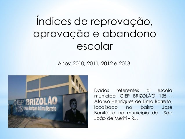 Índices de reprovação,  aprovação e abandono  escolar  Anos: 2010, 2011, 2012 e 2013  Dados referentes a escola  municipal...