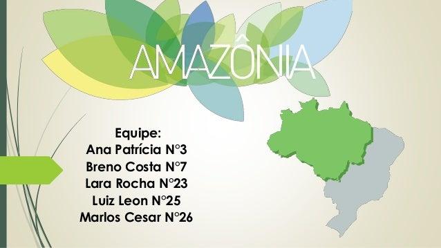 Equipe: Ana Patrícia N°3 Breno Costa N°7 Lara Rocha N°23 Luiz Leon N°25 Marlos Cesar N°26