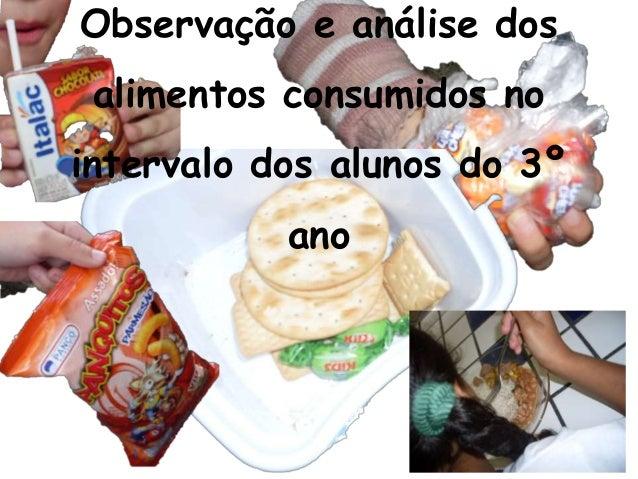 Observação e análise dos alimentos consumidos no intervalo dos alunos do 3º ano