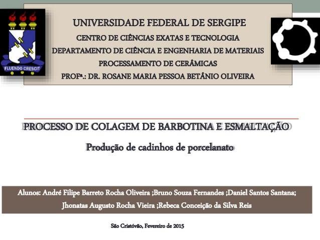 UNIVERSIDADE FEDERAL DE SERGIPE CENTRO DE CIÊNCIAS EXATAS E TECNOLOGIA DEPARTAMENTO DE CIÊNCIA E ENGENHARIA DE MATERIAIS P...