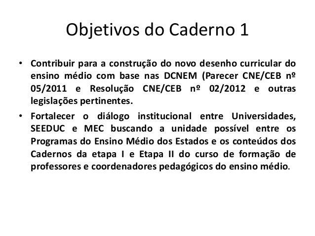 Objetivos do Caderno 1 • Contribuir para a construção do novo desenho curricular do ensino médio com base nas DCNEM (Parec...