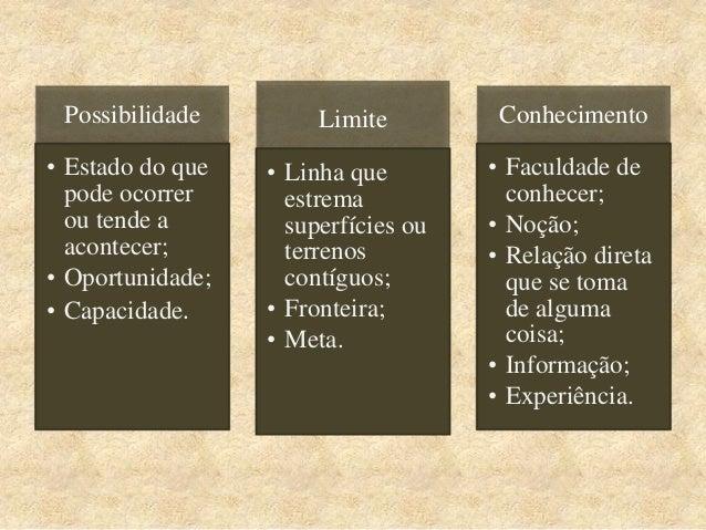 Possibilidade • Estado do que pode ocorrer ou tende a acontecer; • Oportunidade; • Capacidade. Limite • Linha que estrema ...
