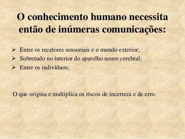 O conhecimento humano necessita então de inúmeras comunicações:  Entre os recetores sensoriais e o mundo exterior;  Sobr...