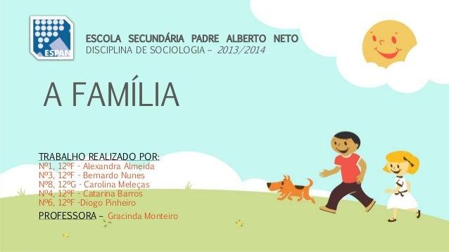 A FAMÍLIA TRABALHO REALIZADO POR: Nº1, 12ºF - Alexandra Almeida Nº3, 12ºF - Bernardo Nunes Nº8, 12ºG - Carolina Meleças Nº...
