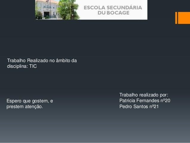 Trabalho Realizado no âmbito da  disciplina: TIC  Trabalho realizado por:  Patricia Fernandes nº20  Pedro Santos nº21  Esp...
