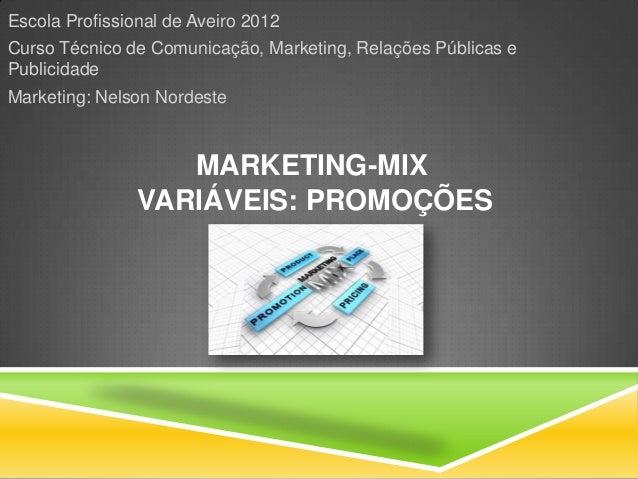 Escola Profissional de Aveiro 2012Curso Técnico de Comunicação, Marketing, Relações Públicas ePublicidadeMarketing: Nelson...