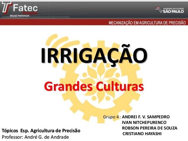 IRRIGAÇÃO Grupo 4 : ANDREI F. V. SAMPEDRO IVAN NITCHEPURENCO ROBSON PEREIRA DE SOUZA CRISTIANO HAYASHI Tópicos Esp. Agricu...