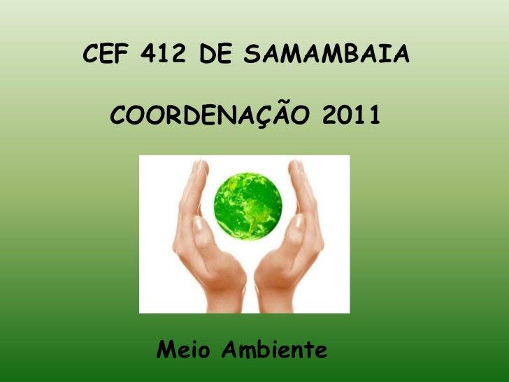 CEF 412 DE SAMAMBAIA<br />COORDENAÇÃO 2011<br />Meio Ambiente<br />