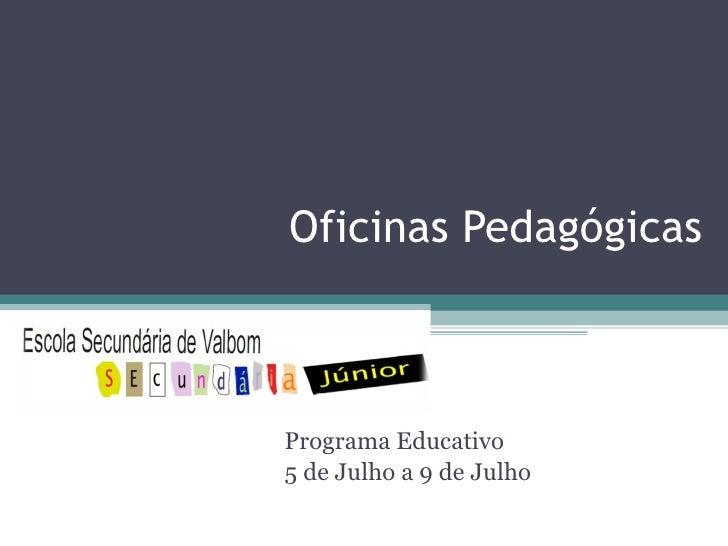 Oficinas Pedagógicas Programa Educativo 5 de Julho a 9 de Julho