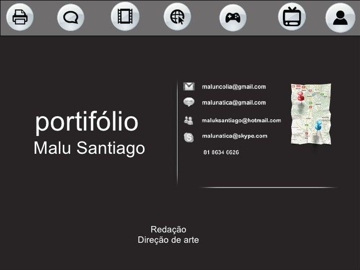 portifólio  Malu Santiago Redação Direção de arte