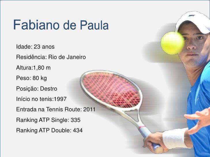 Idade: 23 anosResidência: Rio de JaneiroAltura:1,80 mPeso: 80 kgPosição: DestroInício no tenis:1997Entrada na Tennis Route...