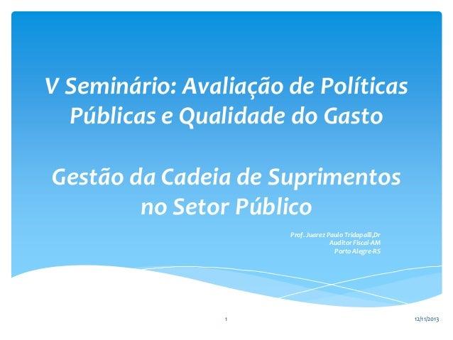 V Seminário: Avaliação de Políticas Públicas e Qualidade do Gasto Gestão da Cadeia de Suprimentos no Setor Público Prof. J...