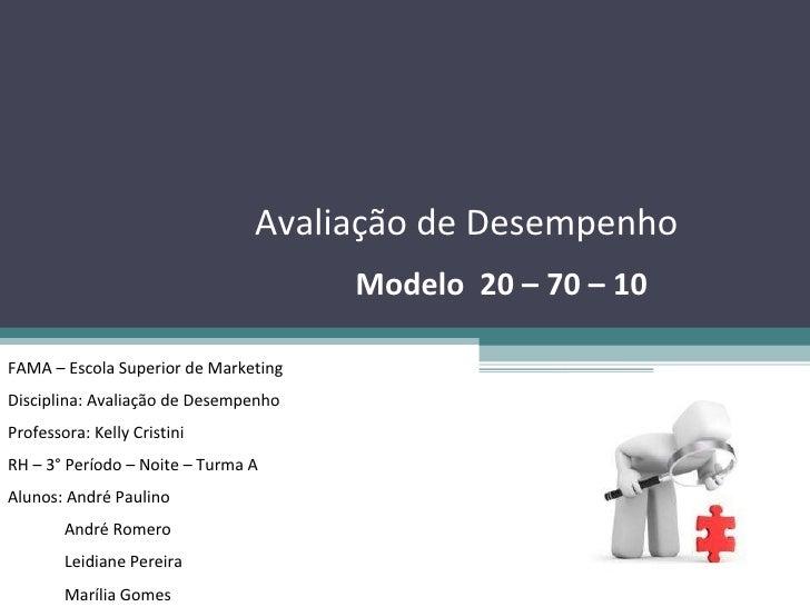 Avaliação de Desempenho Modelo  20 – 70 – 10 FAMA – Escola Superior de Marketing Disciplina: Avaliação de Desempenho Profe...