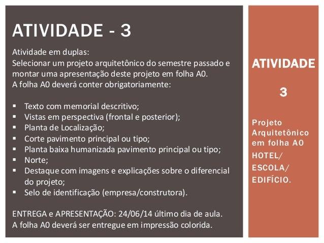 ATIVIDADE 3 Projeto Arquitetônico em folha A0 HOTEL/ ESCOLA/ EDIFÍCIO. ATIVIDADE - 3 Atividade em duplas: Selecionar um pr...