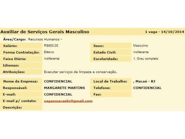 Vagas de Emprego 14/10/2014 Macaé e Todo Rio de Janeiro