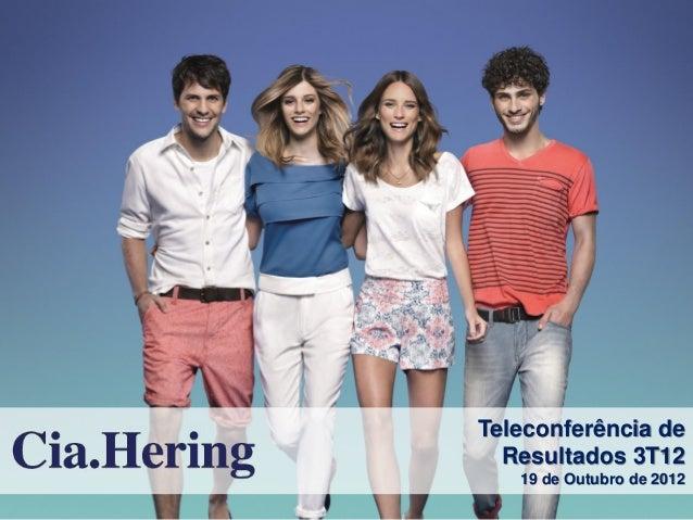 Teleconferência de  Resultados 3T12   19 de Outubro de 2012