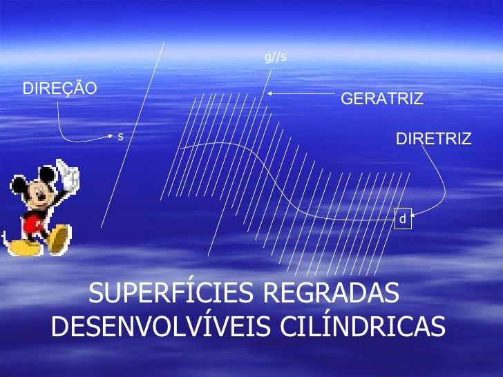 s d g//s SUPERFÍCIES REGRADAS  DESENVOLVÍVEIS CILÍNDRICAS DIRETRIZ GERATRIZ DIREÇÃO