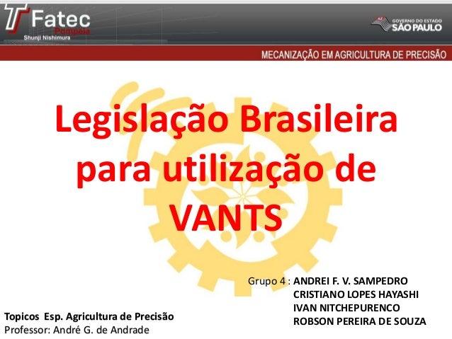 Legislação Brasileira para utilização de VANTS Grupo 4 : ANDREI F. V. SAMPEDRO CRISTIANO LOPES HAYASHI IVAN NITCHEPURENCO ...