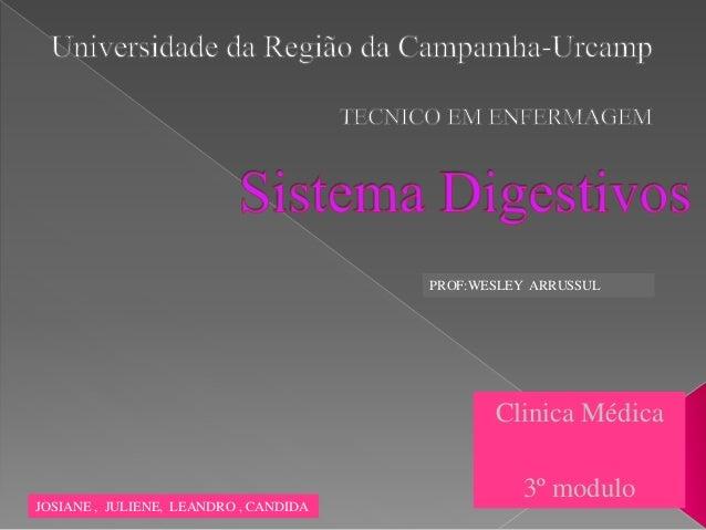 Clinica Médica 3º modulo JOSIANE , JULIENE, LEANDRO , CANDIDA PROF:WESLEY ARRUSSUL