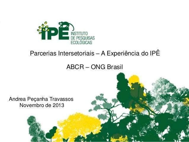 Parcerias Intersetoriais – A Experiência do IPÊ ABCR – ONG Brasil Andrea Peçanha Travassos Novembro de 2013