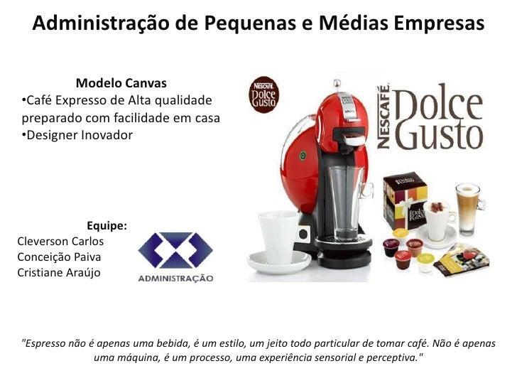 Administração de Pequenas e Médias Empresas         Modelo Canvas•Café Expresso de Alta qualidadepreparado com facilidade ...