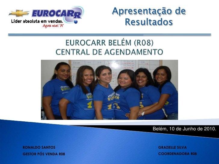 Apresentação de Resultados <br />EUROCARR BELÉM (R08) CENTRAL DE AGENDAMENTO <br />Belém, 10 de Junho de 2010.<br />GRAZIE...