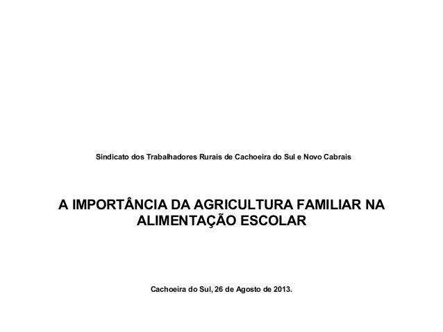 Sindicato dos Trabalhadores Rurais de Cachoeira do Sul e Novo Cabrais A IMPORTÂNCIA DA AGRICULTURA FAMILIAR NA ALIMENTAÇÃO...
