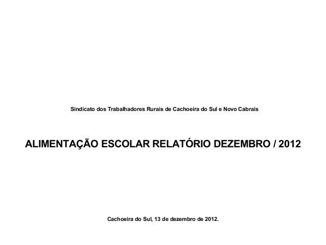 Sindicato dos Trabalhadores Rurais de Cachoeira do Sul e Novo Cabrais ALIMENTAÇÃO ESCOLAR RELATÓRIO DEZEMBRO / 2012 Cachoe...