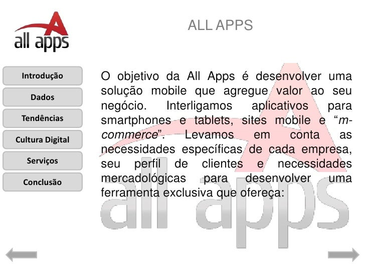 ALL APPS Introdução       O objetivo da All Apps é desenvolver uma    Dados                  solução mobile que agregue va...