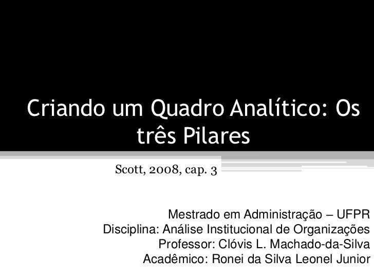 Criando um Quadro Analítico: Os          três Pilares         Scott, 2008, cap. 3                    Mestrado em Administr...