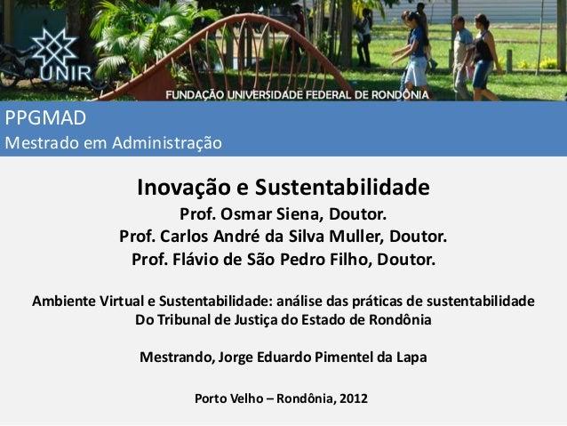 PPGMAD Mestrado em Administração Inovação e Sustentabilidade Prof. Osmar Siena, Doutor. Prof. Carlos André da Silva Muller...