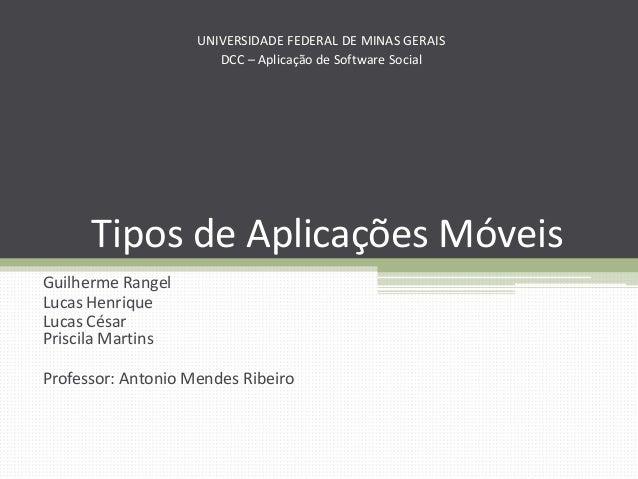Tipos de Aplicações Móveis Guilherme Rangel Lucas Henrique Lucas César Priscila Martins Professor: Antonio Mendes Ribeiro ...