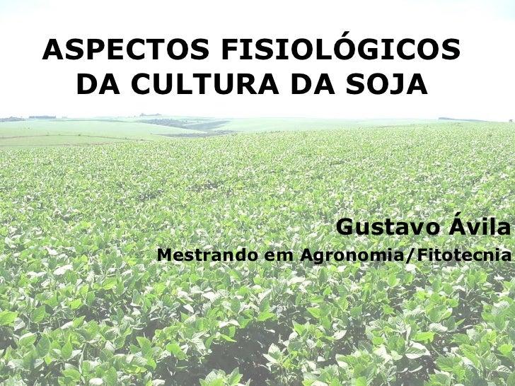 ASPECTOS FISIOLÓGICOS DA CULTURA DA SOJA Gustavo Ávila Mestrando em Agronomia/Fitotecnia