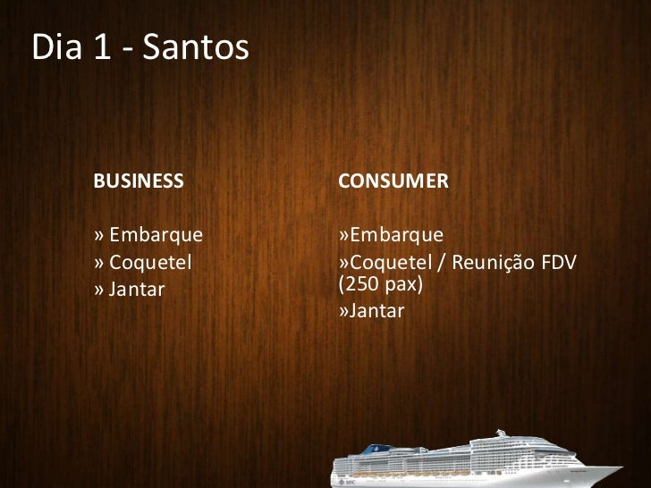 Dia 1 - Santos<br />BUSINESS<br /><ul><li> Embarque