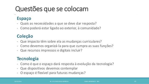 Questões que se colocam 30/01/2016 BE: O FUTURO CHEGA DEPRESSA ISABEL MENDINHOS - RBE 10 Espaço - Quais as necessidades a ...