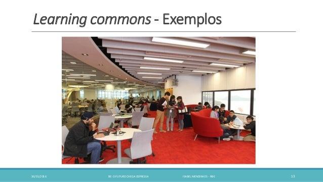 Learning commons - Exemplos 30/01/2016 BE: O FUTURO CHEGA DEPRESSA ISABEL MENDINHOS - RBE 13
