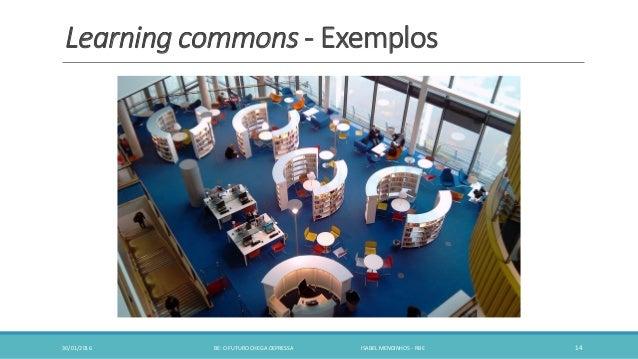 Learning commons - Exemplos 30/01/2016 BE: O FUTURO CHEGA DEPRESSA ISABEL MENDINHOS - RBE 14