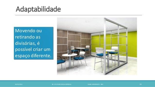 Adaptabilidade 30/01/2016 BE: O FUTURO CHEGA DEPRESSA ISABEL MENDINHOS - RBE 26 Movendo ou retirando as divisórias, é poss...