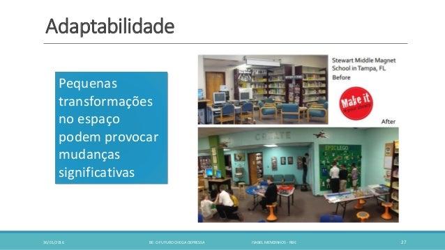 Adaptabilidade 30/01/2016 BE: O FUTURO CHEGA DEPRESSA ISABEL MENDINHOS - RBE 27 Pequenas transformações no espaço podem pr...