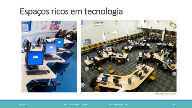 Espaços ricos em tecnologia 30/01/2016 BE: O FUTURO CHEGA DEPRESSA ISABEL MENDINHOS - RBE 33 http://goo.gl/fKIOQm