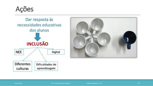 Ações 30/01/2016 BE: O FUTURO CHEGA DEPRESSA ISABEL MENDINHOS - RBE 44 Dar resposta às necessidades educativas dos alunos ...