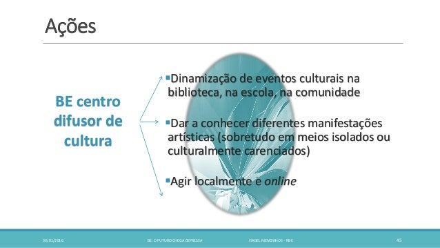 Ações Dinamização de eventos culturais na biblioteca, na escola, na comunidade Dar a conhecer diferentes manifestações a...