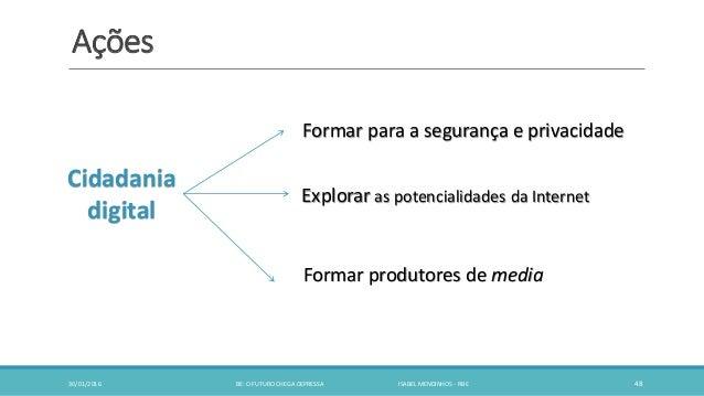 Ações 30/01/2016 BE: O FUTURO CHEGA DEPRESSA ISABEL MENDINHOS - RBE 48 Cidadania digital Formar para a segurança e privaci...