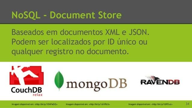 NoSQL - Graph Store Mais complexo Guarda objetos ao invés de registros. 35Imagem disponível em: <http://bit.ly/1M6DyxH> Im...