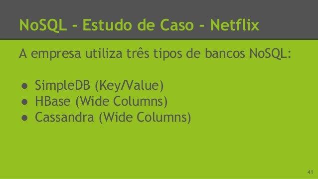 NoSQL - Estudo de Caso - Netflix Por que usar SimpleDB? ● A Netflix utiliza o serviço AWS, da Amazon. Como o SimpleDB tamb...