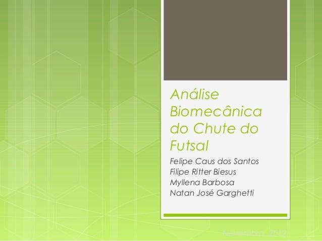 Análise  Biomecânica  do Chute do  Futsal  Felipe Caus dos Santos  Filipe Ritter Biesus  Myllena Barbosa  Natan José Gargh...