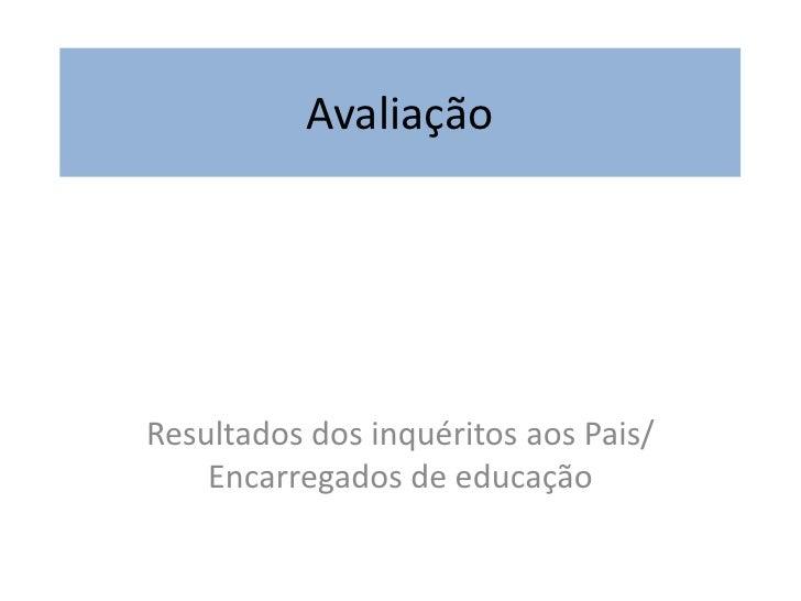 AvaliaçãoResultados dos inquéritos aos Pais/    Encarregados de educação